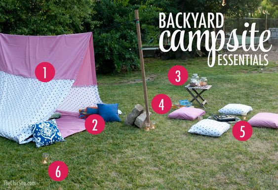 Backyard Camping Tips :  ideas  Some ideas on what to include in your own backyard camping