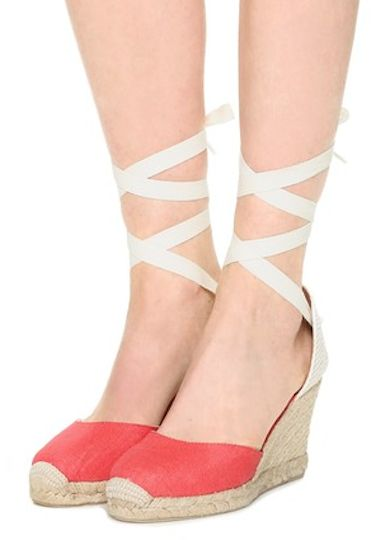 cute coral wedge espadrilles