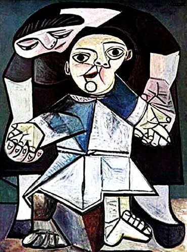 """First Steps"".....Artist: Pablo Picasso Completion Date: 1943 Style: Surrealism Period: Neoclassicist & Surrealist Period Genre: genre painting Technique: oil Material: canvas Gallery: Yale University Art Gallery, New Haven, Connecticut, USA."