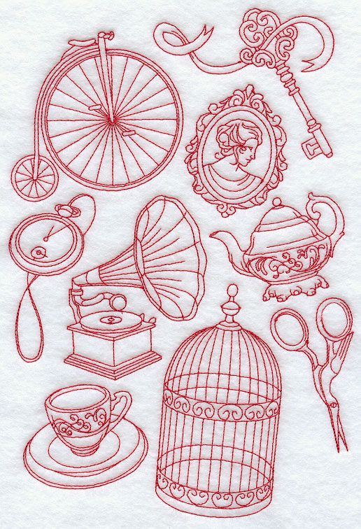 Victorian medley redwork machine embroidery designs at