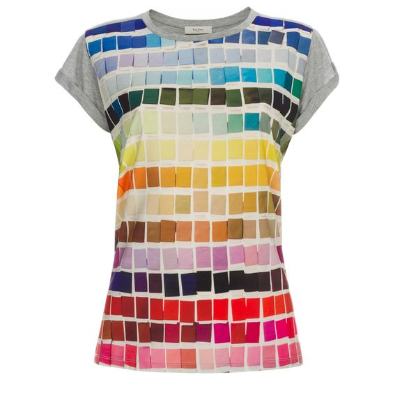 Women's grey marl jersey T-shirt with multi-coloured 'Colour Chart' photographic print on the front.