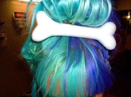 multicolored hair blue hair cute hair