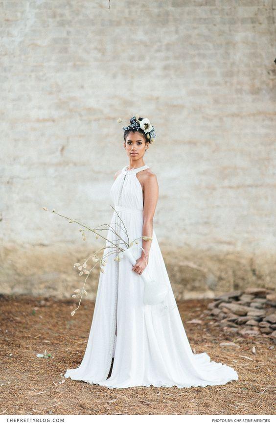 High neck and empire waist dress designed by Bo & Luca! Photographer: Christine Meintjes