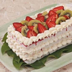 NANA'S STRAWBERRY CHEESECAKE TORTE ~ A LUCSIOUS, YUMMY STRAWBERRY-ANGELFOOD TORTE. LIGHT AND LOVELY! WONDERFUL FOR YOUR EASTER TABLE AND GOES WITH ANY ENTREE!