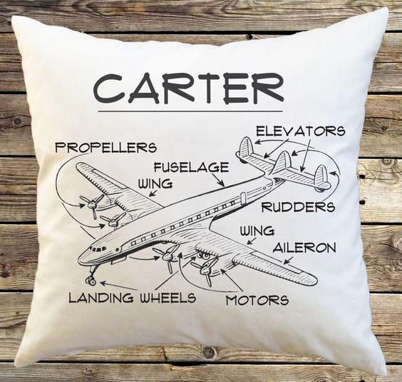 Personalized Airplane Pillow Cover.  Line Art.  Vintage Airplane sketch