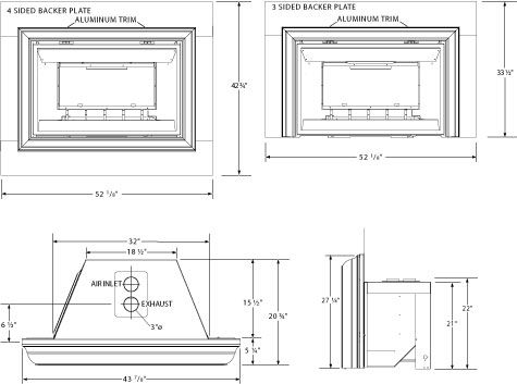 gas fireplace insert rough opening dimensions