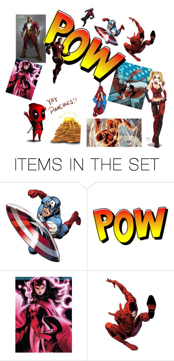 """My favorite superheroes that wear red and harley❤️"" by cloudysky321 ❤ liked on Polyvore featuring art"