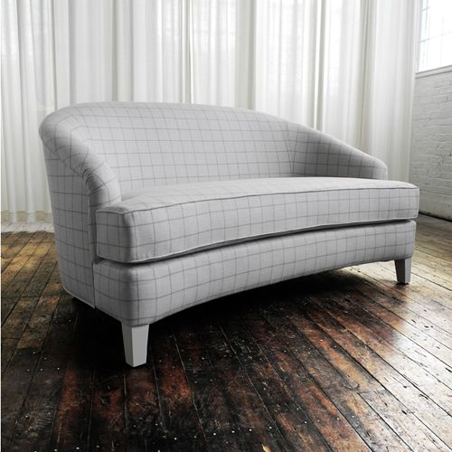 Loveseat Small Sofa Curved Loveseat Bedroom Seating Boudoir Seating  FINISHES AND MATERIALS SHOWN Artisan Upholstered Savile Row Check Wool  Interioru2026