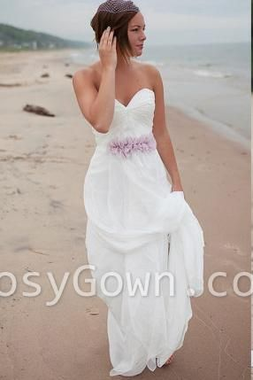 White Strapless Sweetheart A-line Floor Length Chiffon Wedding Dress Rosygown.com