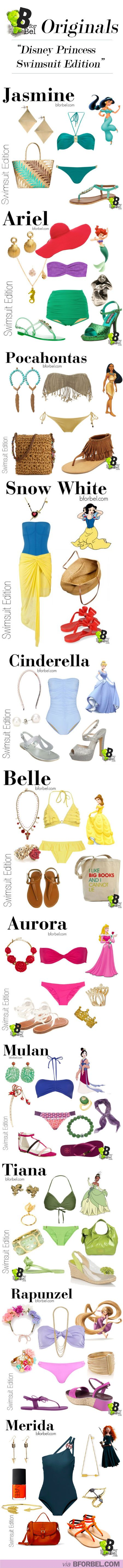 Swimwear: Disney Princess Style. More of an idea for the colors.