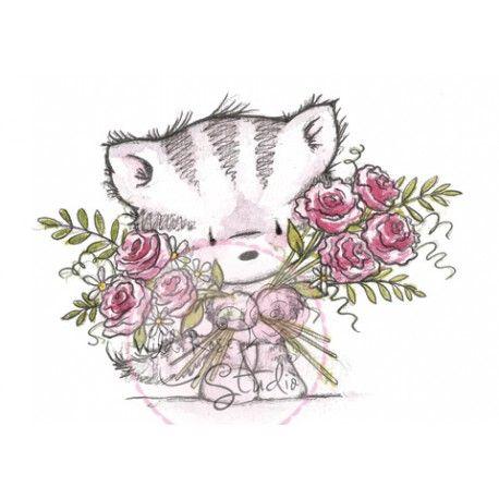 Tampon dessin wild rose studio chat et fleurs nature - Dessins de bouquets de fleurs ...