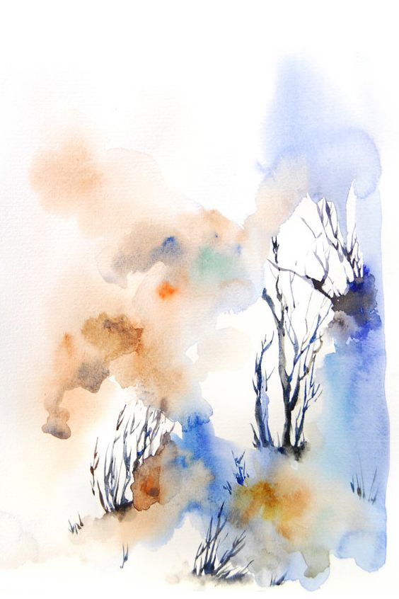 Abstract Landscape Watercolor Painting Art Print, Blue Modern ...