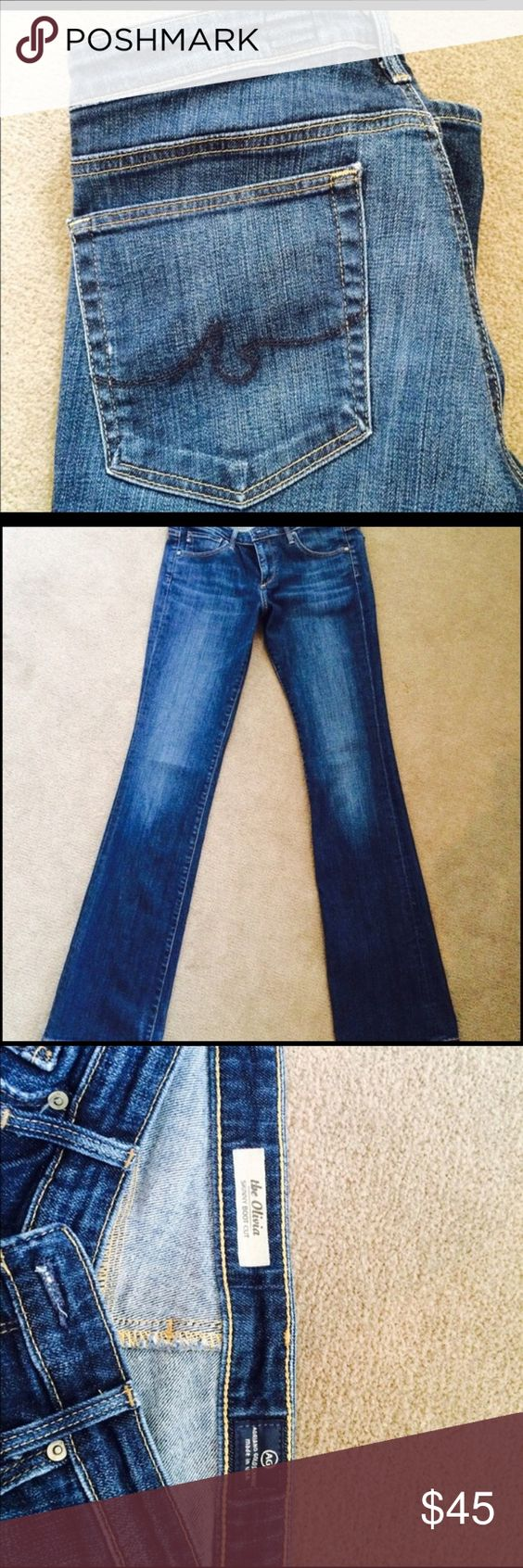 Authentic AG Olivia Skinny Bootcut Jeans Size 30 regular authentic AG Olivia jeans. Just purchased, but too small. Minimal signs of wear. 33.5 inseam. AG Adriano Goldschmied Jeans