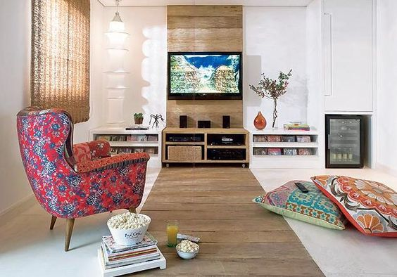 Living room in minimalist style with TV