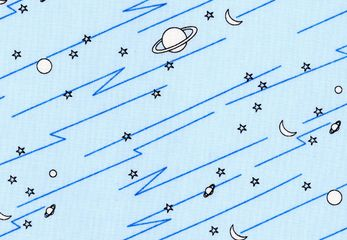 "Outer Space Fabric Light Blue  This cotton print fabric is part of the Marty Goes to Mars collection. It features planets, moons and stars, against a solid background. The hand-drawn details in this fabric can't help but make you smile. Use this fabric for quilts, home decor, apparel and crafts. Planet with rings measure about 7/8"" wide. 100% cotton. 44"" wide."