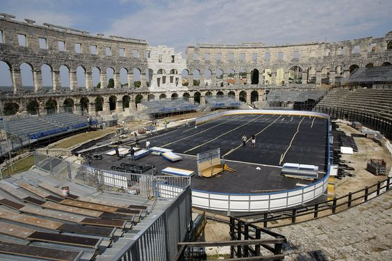 outdoor hockey rink in a romain arena