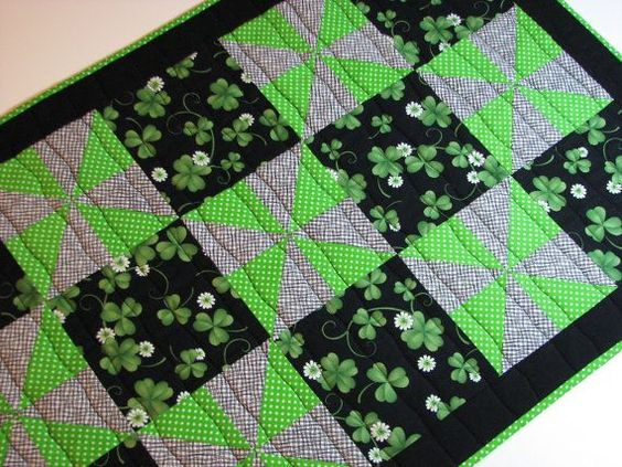 St Patrick's Quilt Table Runner | St. Patrick's Day Quilted Table Runner by VillageQuilts on Etsy, $45 ...