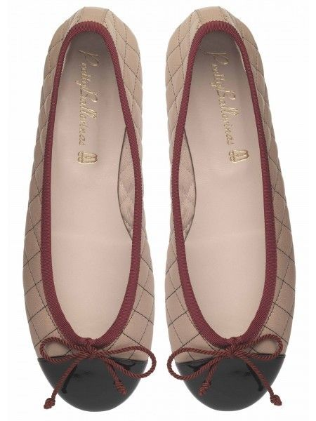 Soft Quilted Nude Leather with Dark Red Trim and Black Patent Leather Toe & a Girly Bow Ballerina #Shoes