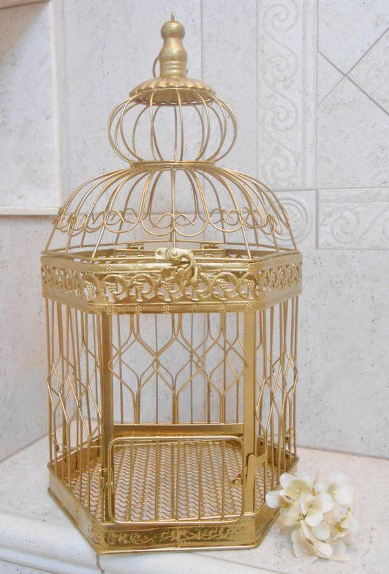 XL Gold Wedding Birdcage Card Holder / DIY Wedding / DIY Birdcage / Extra Large…
