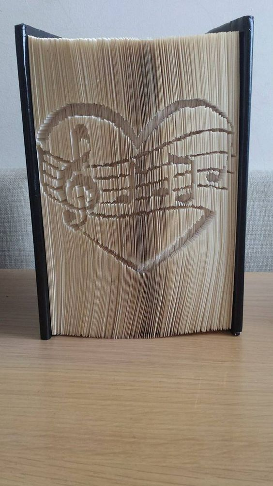 Music Heart (Measure, mark, cut and fold) Book folding pattern, available on www.totallytemplates.co.uk