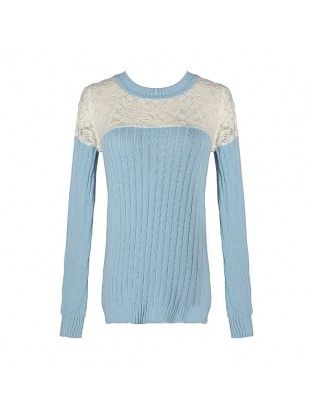 Lace Collar Long Sleeved Sweater