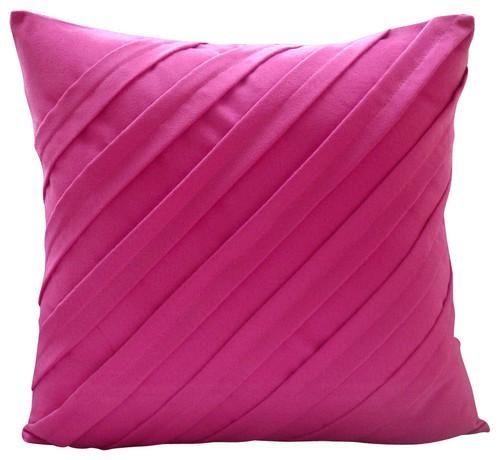 Contemporary Fuchsia Fuchsia Pink Faux Suede Throw Pillow Cover