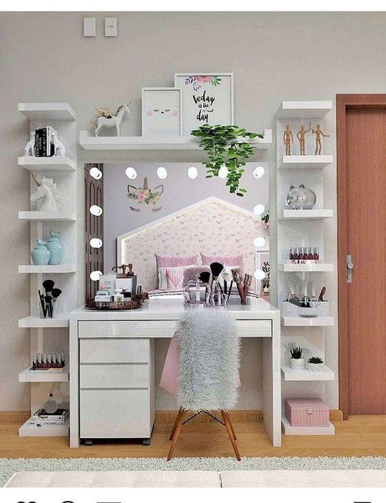 27 Diy Makeup Room Ideas Organizer Storage And Decorating Molitsy Blog Stylish Bedroom Teenage Girl Room Decor Room Decor