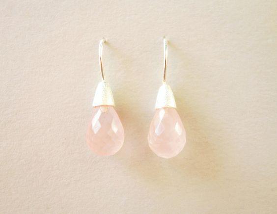 Silber Ohrringe - Rosenquarz facettiert 925 Silber Ohrringe - ein Designerstück…