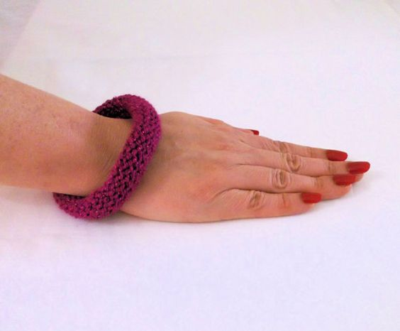 Hand Knitted Bracelet Textile Jewlery Knitted by MoonBeamsCloset