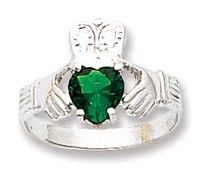 Emerald Rings - 14k White Gold Heart Shaped Emerald May Birthstone Claddagh Ring emerald claddagh ring