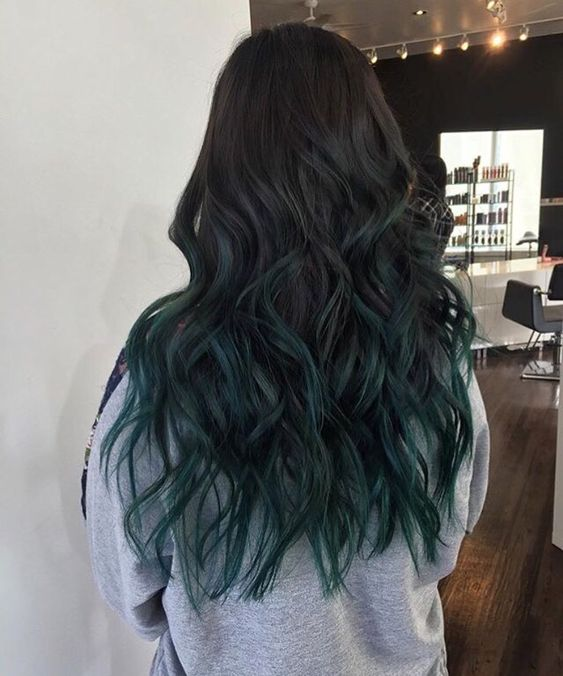 My emerald green balayage hair done at Fox \u0026 Beau Salon by