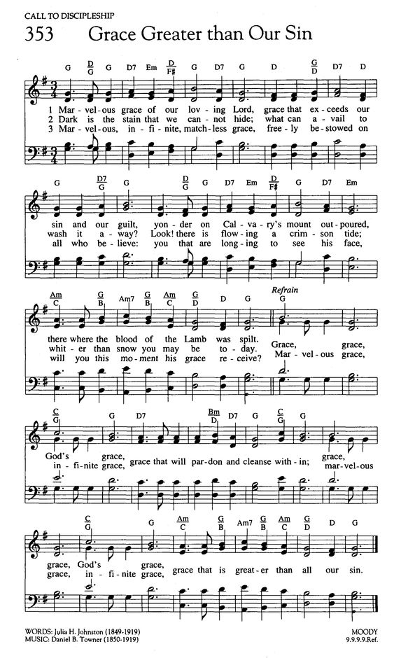 """high resolution (1875×3128) from Hymnary.org; """"Grace Greater than Our Sin"""""""