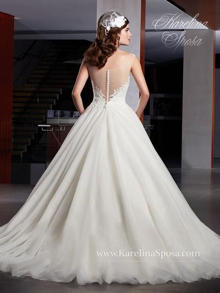 NEW ARRIVAL! Tulle bridal ball gown with illusion bateau neckline