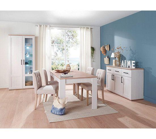 Table L160 Avec Allonge Romance Imitation Pin Imitation Chene Decoration Maison Salle A Manger Traditionnelle Mobilier De Cuisine