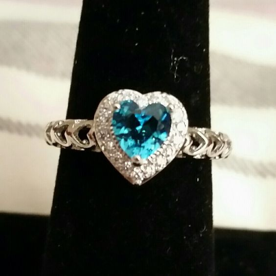 Super Cute Ring Silver ring with blue topaz heart. Heart cut created blue topaz white CZ diamond gemstones. 14k white gold plated fashion ring. Costume jewelry. Jewelry Rings