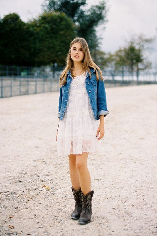 Short lace dress, cowgirl boots, and a denim jacket. Would love ...