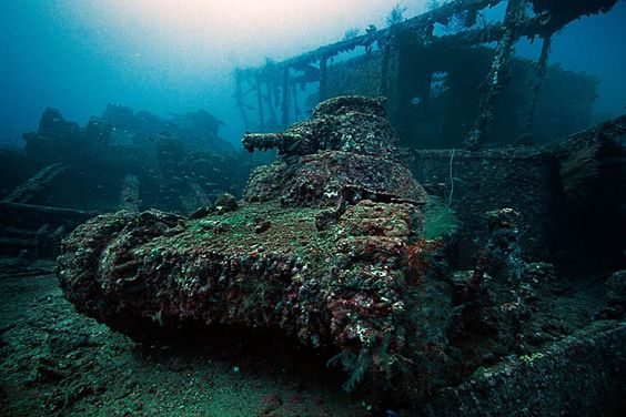 Truk Lagoon, Micronesia  -a light tank on the deck of the San Francisco Maru. On February 18, 1944, a TBF Avenger from USS Essex dropped a 500lbs bomb that hit midship, leaving the ship burning and sinking stern first.