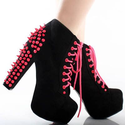Neon Pink Studded Chunky Heel Boots   Shoes   Pinterest   Heel