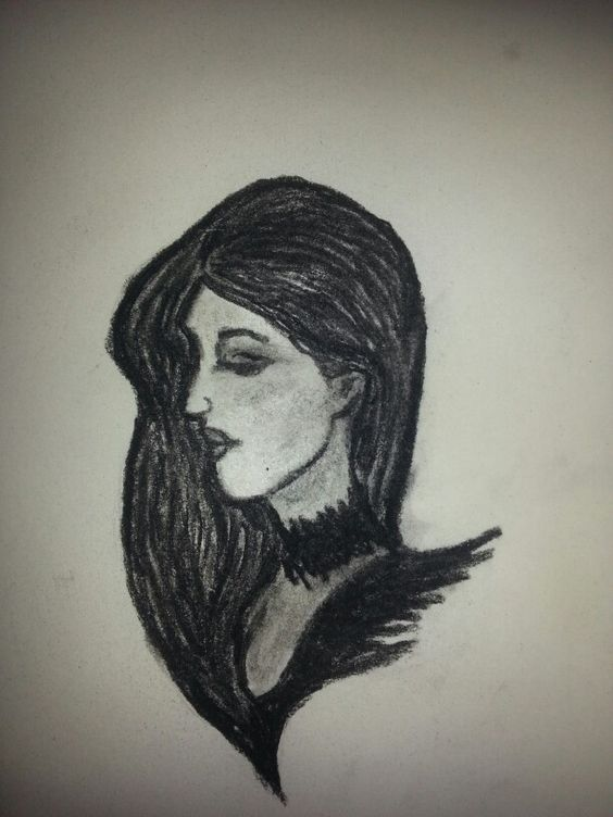 Dramatic girl done with Charcoal pencil