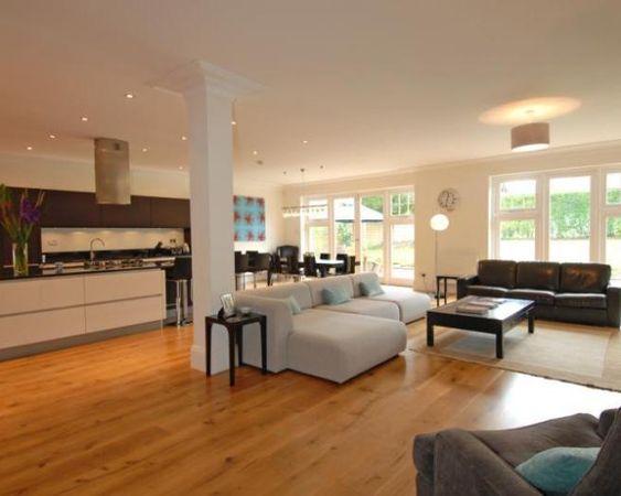 Photo of open plan beige orange kitchen kitchen diner for Living room extension ideas