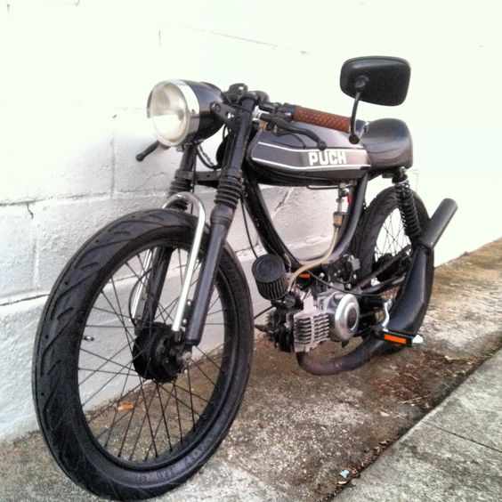 puch cafe racer style moped conversion