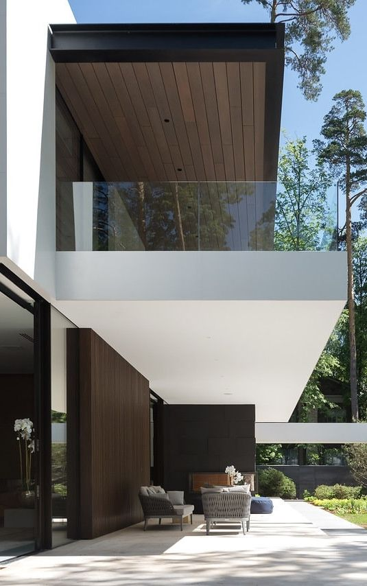 Terrace Of Modern Forest House Designed By Alexandra Fedorova Luxury House Plans Facade House House Exterior