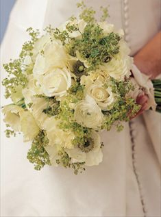 white and green wedding bouquet from the knot