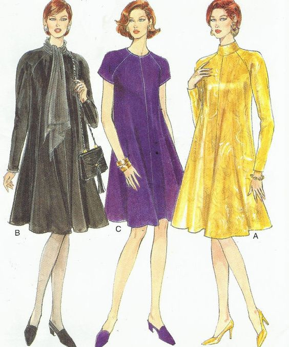 90s Vogue Sewing Pattern 9146 Womens Trapeze Dress by CloesCloset