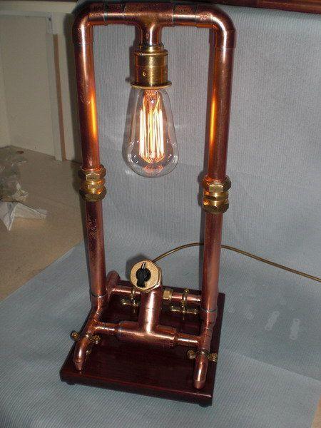Copper pipe lamp repurposed lighting pinterest