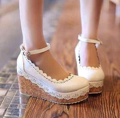 Women Ladies Retro Girls Lolita Vintage 9CM Wedges Flory Strap Shoes High Heels