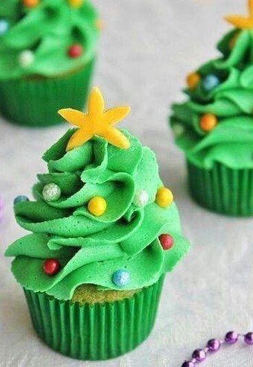 Cupcake Decorado con forma de Árbol de Navidad - Cupcakes Navideños - enfemenino