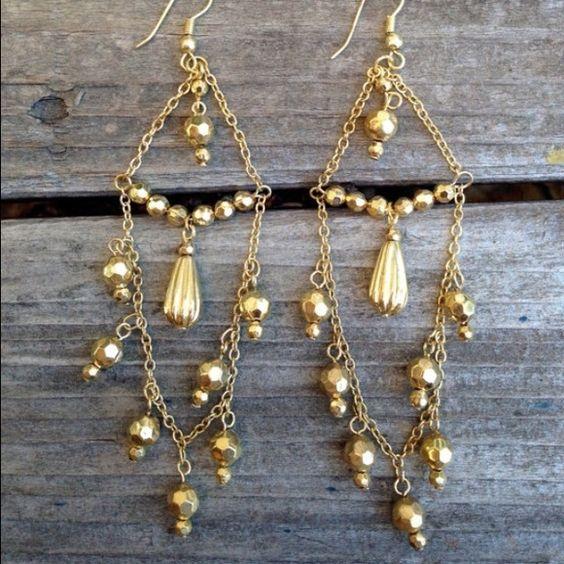 """Gold chandeliers, light, 3"""" long Light gold metal nickel free chandelier statement earrings. New. Jewelry"""
