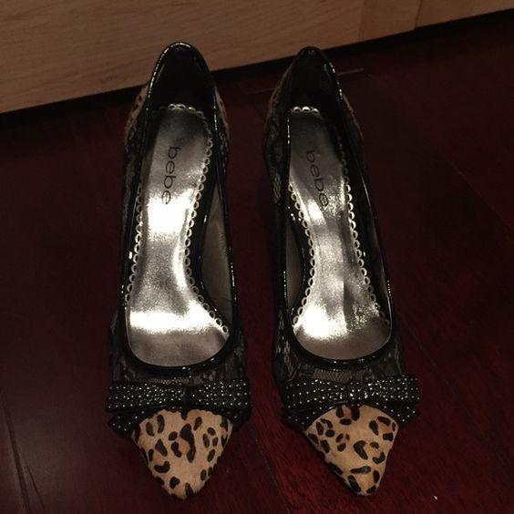 Leopard pumps Bebe leopard pumps; size 6.5. bebe Shoes Heels