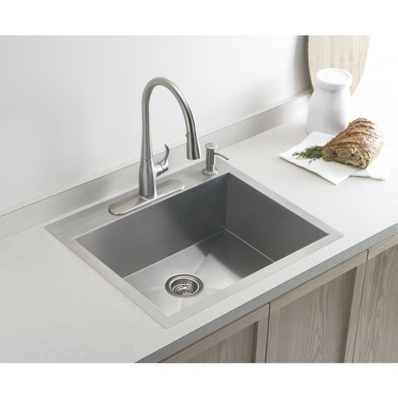 Shop KOHLER Vault 18-Gauge Single-Basin Drop-in Stainless Steel Kitchen Sink at Lowes.com